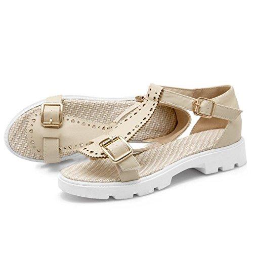 FANIMILA Mujer Moda Correa En T Tacon Bajo Sandalias Chicas Colegio Lindo Planos Zapatos Beige