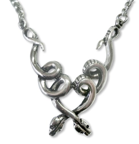 Cool Coiled Snakes Silver Finish Pewter Pendant Necklace, 20
