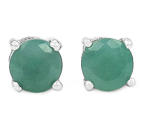 Emerald Silver Earrings Genuine (2.10ctw Genuine Emerald 6mm Round & Solid .925 Sterling Silver Stud Earrings)