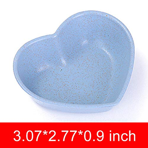 DishyKooker Mini Wheat Straw Club Relish Plate for Pickles Sauce Kitchen Accessories Shape Heart-Shaped Blue