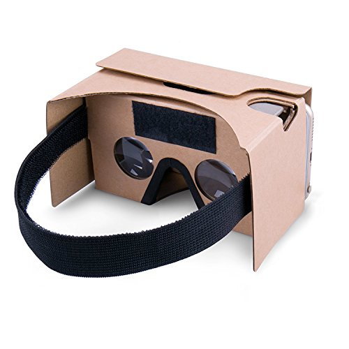 POTOK 2016 Newest Google Cardboard Kit V2 Big Lens 3D Virtual Reality Cardboard Glasses with T Head Strap,Compatible with 3-6inch Screen Android and Apple Smartphone