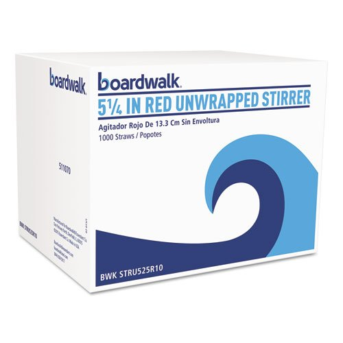 ESSN BWKSTRU525R10 Unwrapped Stir-Straws44; 7.75 in.44; Red