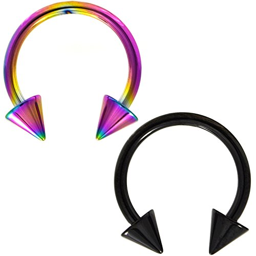 Black Titanium Circular Barbell (Two-Color Set Rainbow and Black Titanium IP Steel Circular Barbells Horseshoe Rings with Spike Ends (16 Gauge 5/16