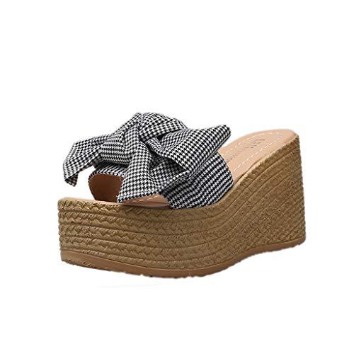 LOVOZO 2019 New SummerWomenLadies Bow Knot Plaid Peep Toe Platform Wedges Sandal Shoes Slipper Black