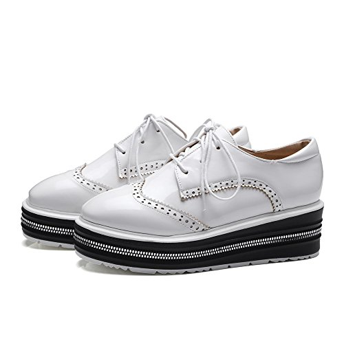 Odomolor Women's Square-Toe Kitten-Heels PU Solid Lace-up Pumps-Shoes, White, 39