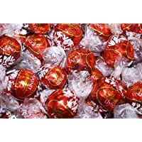 Lindt Milk Chocolate Truffles Box - of 100 Count - In The Tundras Gift Box With Imprinted Red Ribbon