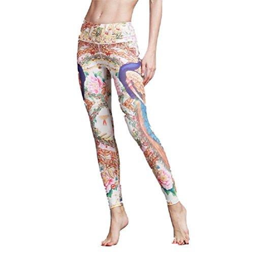 Yoga Elasticizzato Donna Slim Pantaloni Dimagrante Arancia Vita Legging Oudan Stampato Da Sport Tights SgtAqw