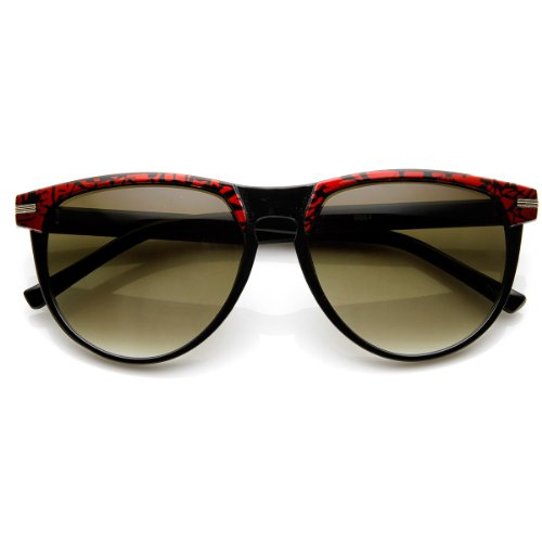 zeroUV - Two-Tone Pattern Color Keyhole Mod Horn Rimmed Sunglasses - Glasses Red Rimmed Horn