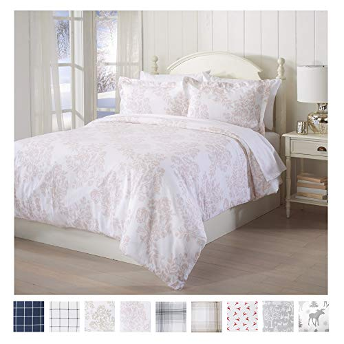 Great Bay Home Extra Soft Printed Flannel Duvet Cover with Button Closure. 100% Turkish Cotton 3-Piece Set with Pillow Shams. Belle Collection (Full/Queen, Mauve Chalk) (Pink Toile Bedding)
