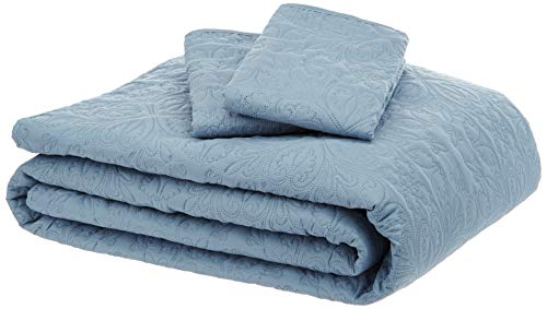 King Spa - AmazonBasics Oversized Quilt Coverlet Bed Set - King, Spa Blue Floral