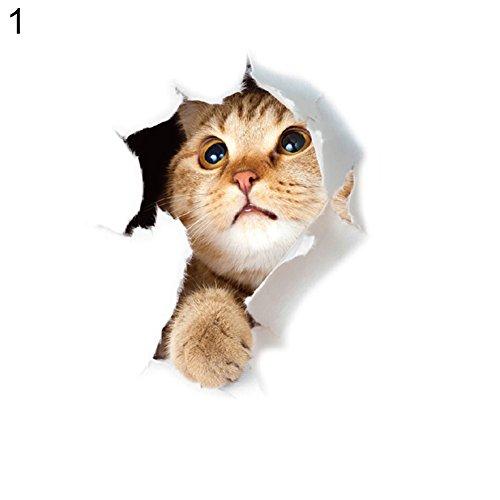 Cheap  Finance Plan Big Promotion Cute Cat Printed Toilet Lid Sticker Wall Art..