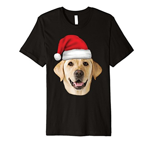 Santa Hat Yellow Lab Portrait Labrador Xmas Premium T-Shirt ()