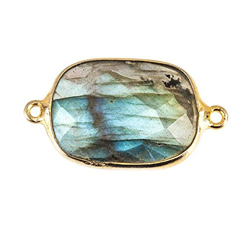 20x16mm 22kt Gold plated Bezel Labradorite Faceted Cushion 1 Focal Bead