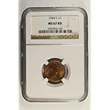 1944 S Wheat Cent Penny MS67 RD NGC