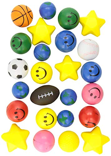 Find Discount 24 Stress Balls – Bulk Stress Relief Toys Assortment – 2.5″ Stress Balls, Smile Face, Globe, Sport Balls, Hearts and Stars for Treasure Box Classroom Prizes, Party Favors, Or Just To De-Stress (2 Dozen) Assorted Designs and Colors for Kids, Adults and Teens