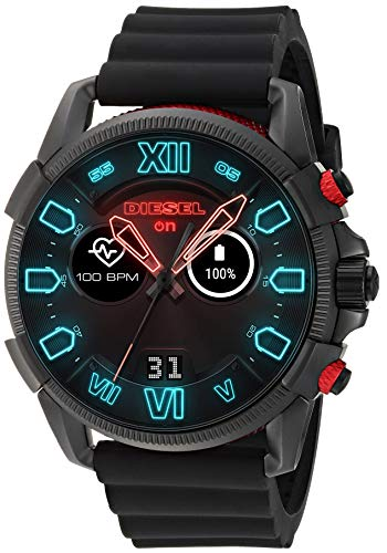 Diesel Men's Stainless Steel Touchscreen Watch with Silicone Band Strap, Black, 22 (Model: DZT2010)