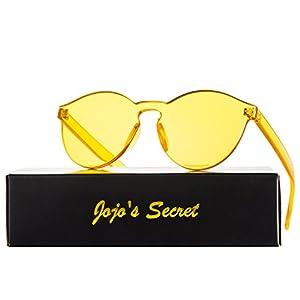 JOJO'S SECRET One Piece Rimless Sunglasses Transparent Candy Color Eyewear JS017 (Transparent&Yellow, 2.3)