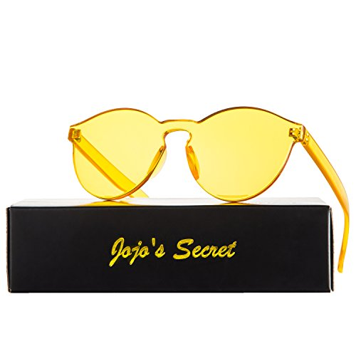 JOJO'S SECRET One Piece Rimless Sunglasses Transparent Candy Color Eyewear JS017 (Transparent&Yellow, - Plastic Women's Sunglasses