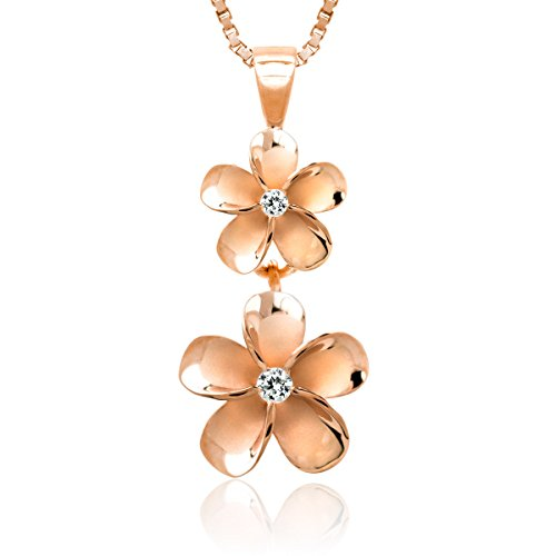 Honolulu Jewelry Company 14k Rose Gold Plated Sterling Silver Two Plumeria CZ Necklace with 18 Box Chain