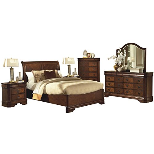 Savona Sleigh 6 Piece Cal King Bed, 2 Nightstand, Dresser & Mirror, Chest in Burnished Cherry (Sleigh King Bedroom Suite)