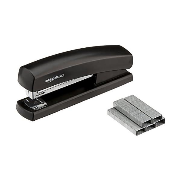 AmazonBasics Stapler with 1000 Staples - Black 5