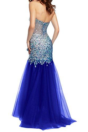 Ivydressing Merjungfrau Ausschnitt Stil Festkleid Damen Herz Royalblau Steine Tuell Abendkleid Promkleid Mondern BAHwBrq
