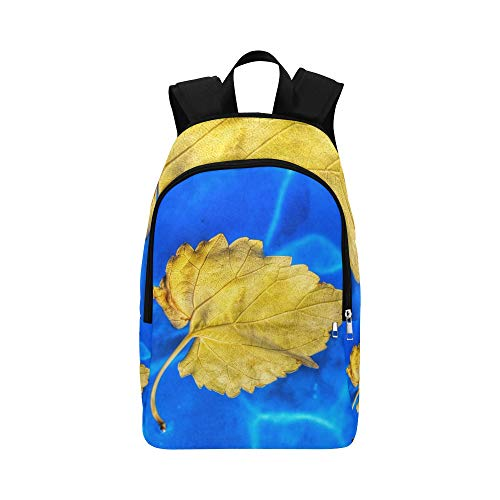 MOVTBA Leaf Water Yellow Blue Casual Daypack Travel Bag College School Backpack for Mens and Women