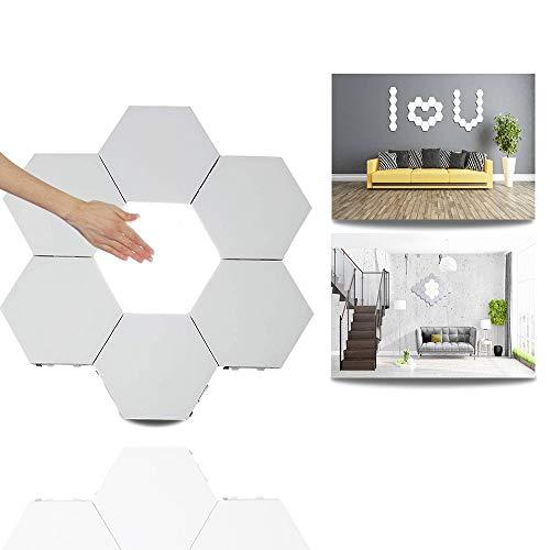 Hexagon LED Lights,Smart LED Light Panels Touch Control Wall Light Hexagonal Modular Light DIY Geometry Splicing Hex Light Honeycomb Hallway Night Light for Home Office Hotel Bar Festive Gift,6 Pack