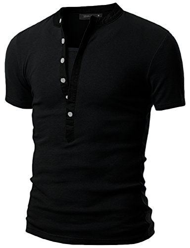 Doublju Mens Henley T-shirts with Short Sleeve BLACK XL (Us Polo Ni??os)