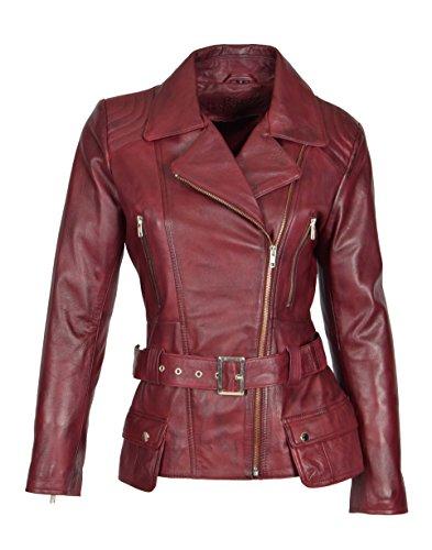 Ladies Real Leather Hip Length Belted Biker Casual Jacket Celia Burgundy (X-Large)