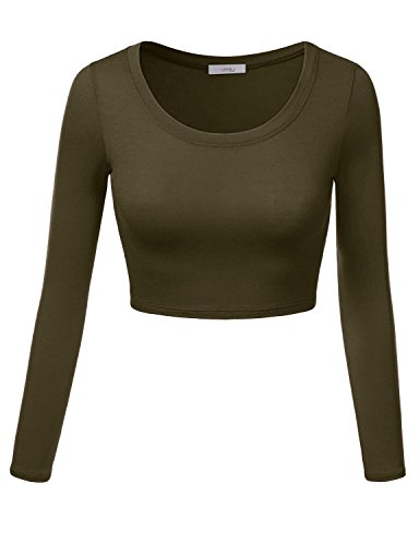 Simlu Womens Crop Top Round Neck Basic Long Sleeve Crop Top with Stretch - USA Olive Medium