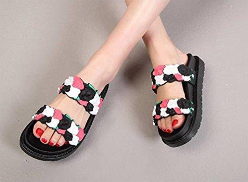KUKI 010 de Comfort suela Slippers gruesa 3D Beach Roses Zapatillas mujer de slip HFr7wRqH