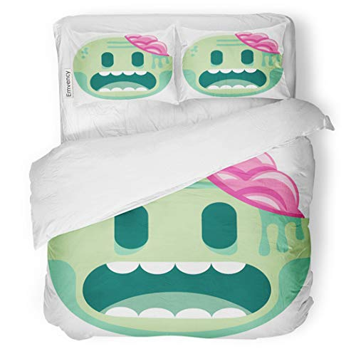SanChic Duvet Cover Set Green Kawaii Cartoon Zombie Emoji Movie Abstract Brain Decorative Bedding Set with Pillow Case Twin Size]()