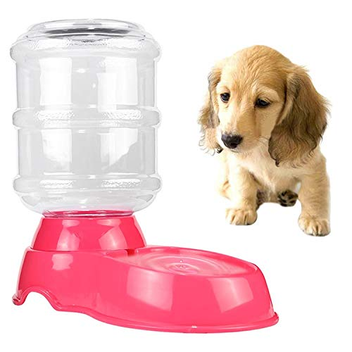 Pink Feeding for pet hyx 3.5L Pet Gravity Waterer Dogs Cats Plastic SelfDispensing Gravity Pet Feeder (color   orange)