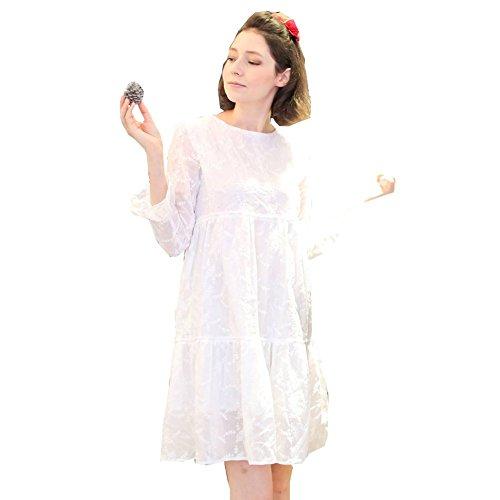 Womens White Embroidered Cotton Bell Sleeve Scoop Neck Drop Waist Dress S (Scoop Neck Drop Waist Dress)