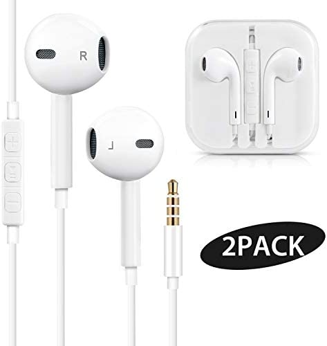 Bestf Wired Earbuds, 3.5mm Jack Earphones Noise Canceling Headphones with Built-in Mic Volume Control Compatible with iPhone 6 SE 5S 4 iPod iPad Samsung Android MP3