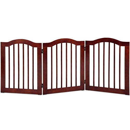 Giantex 3 Panel Wood Dog Gate Pet Fence Barrier Folding Freestanding Doorway Fence Doggie Puppy Fencing Enclosure System Indoor Safety Gate for Dogs (24'') ()