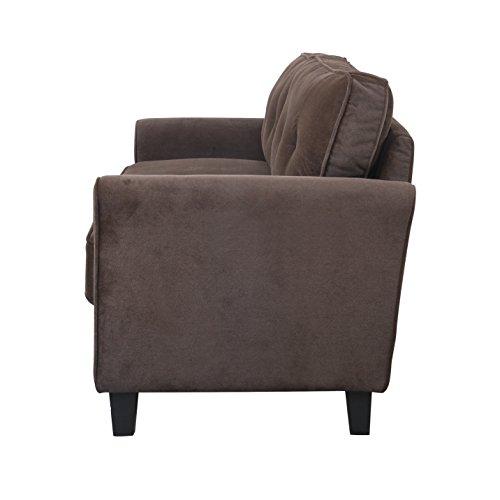 Classic Ultra Comfortable Brush Microfiber Fabric Living Room Sofa Brown Furniture Sofas