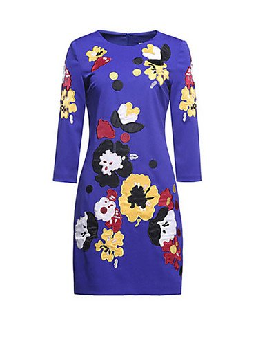 PU&PU Robe Aux femmes Gaine Simple,Fleur Col Arrondi Au dessus du genou Polyester , dark blue-3xl , dark blue-3xl