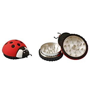 "#Gr205 1.75"" Ladybug 2pc Grinder Assorted Colors Smoke Smoking Fire Pipe Cigar Cigarette Tobaco Tobacco"