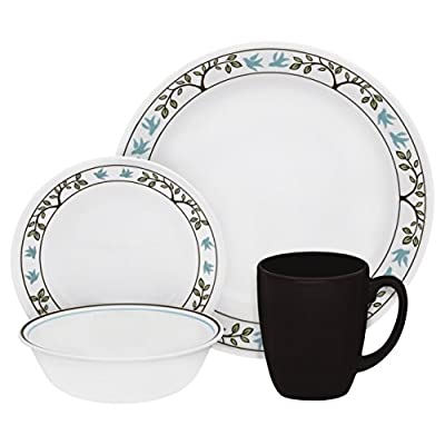 Corelle 16-Piece Vitrelle Glass Tree Bird Chip and Break Resistant Dinner Set, Service for 4, Blue/ Brown - Chip, Break, Stain and Scratch resistant for carefree durability Microwave, Dishwasher and Oven safe for versatility  Thin & Lightweight dinnerware is easy to handle - kitchen-tabletop, kitchen-dining-room, dinnerware-sets - 41R2f9hvQqL. SS400  -