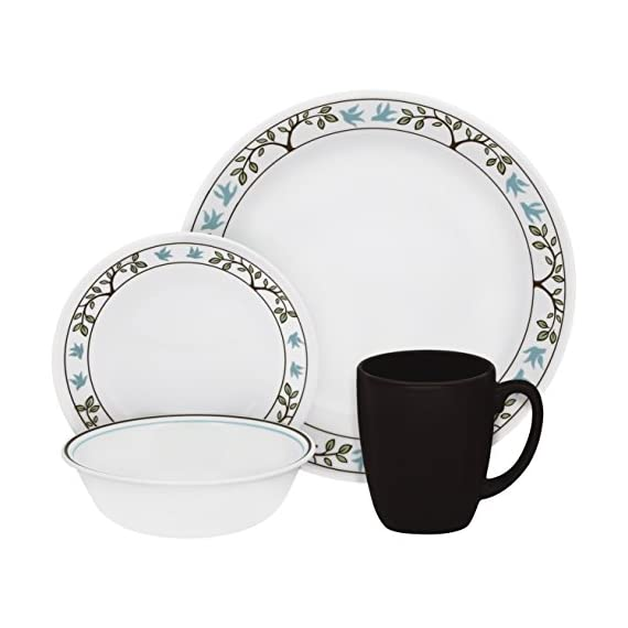 Corelle 16-Piece Vitrelle Glass Tree Bird Chip and Break Resistant Dinner Set, Service for 4, Blue/ Brown - Chip, Break, Stain and Scratch resistant for carefree durability Microwave, Dishwasher and Oven safe for versatility Thin & Lightweight dinnerware is easy to handle - kitchen-tabletop, kitchen-dining-room, dinnerware-sets - 41R2f9hvQqL. SS570  -