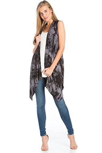Women's Solid Color Sleeveless Asymetric Hem Open Front Cardigan -Made in USA (Small, Black Grey Tie Dye)