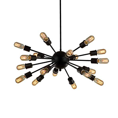 Sputnik Chandelier 12/18 Light Mid-Century Industrial Retro Vintage Mental Texture Antique Hanging Ceiling Pendant Light Living Room Restaurant Bar Cafe Lighting in Painted Finish ()