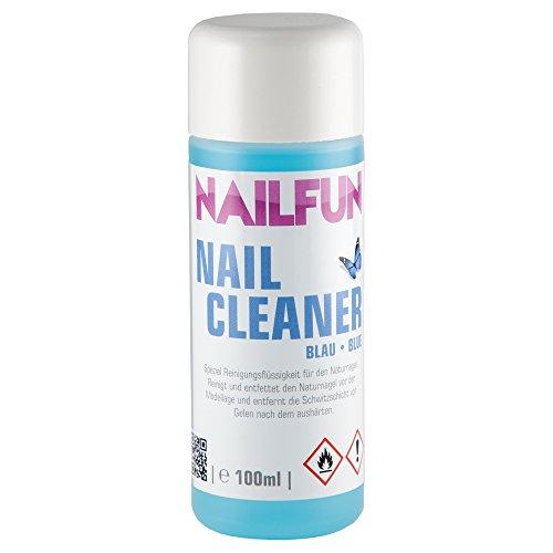 NAILFUN Nail-Cleaner blau [100ml] Spezial Reinigungsflüssigkeit für den Naturnagel - reinigt und entfettet den Naturnagel vor der Modellage und entfernt die Kohäsionsschicht vom Gel nach dem Aushärten