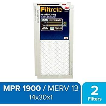 Filtrete 14x30x1, AC Furnace Air Filter, MPR 1900, Healthy Living Ultimate Allergen, 2-Pack