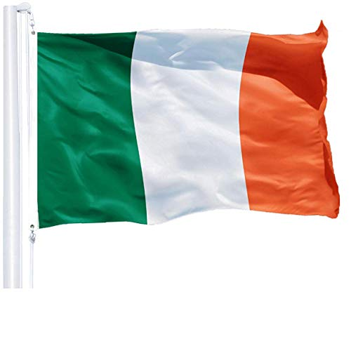 G128 - Irish Flag | 3x5 feet | Printed 150D - Indoor/Outdoor, Quality Polyester, Brass Grommets, Much Thicker More Durable Than 100D 75D Polyester -