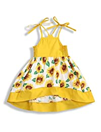 SUPEYA Kid Baby Girls Sunflower Floral Dress Sleeveless Sundress Summer Clothes