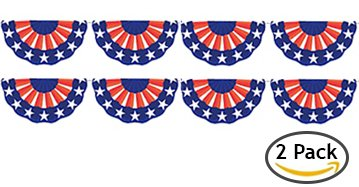 Patriotic Garland - American Flag Bunting Banner for 4th of July Party, Veterans Day, Labor Day Holiday and More (2-Pack)