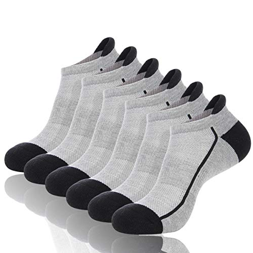 Heatuff Mens Low Cut Athletic Socks Ankle Mesh Breathable Cushioned Comfort Running Tab Sock With Arch Support 6 Pack ()